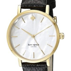 Kate Spade NY Goldtone Metro Black Leather Watch